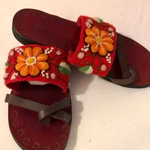 PERUVIAN EMBROIDERED  HANDMADE  LEATHER SANDALS